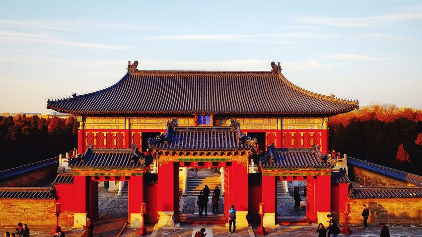Architecture Travel Destinations Red History Gate Outdoors Ancient Old-fashioned Built Structure Classical Style People Roof Building Exterior Day Sky Warm Day Sunset Travel Warm Light Warm Winter Silhouette Light And Shadow Temple Of Heaven Park FUJIFILM X-T10 Beijing, China