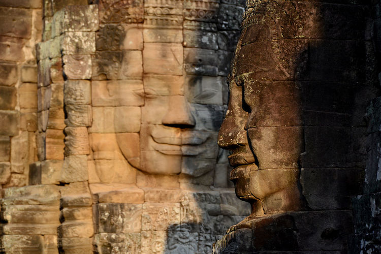 Buddha Carvings On Bayon Temple