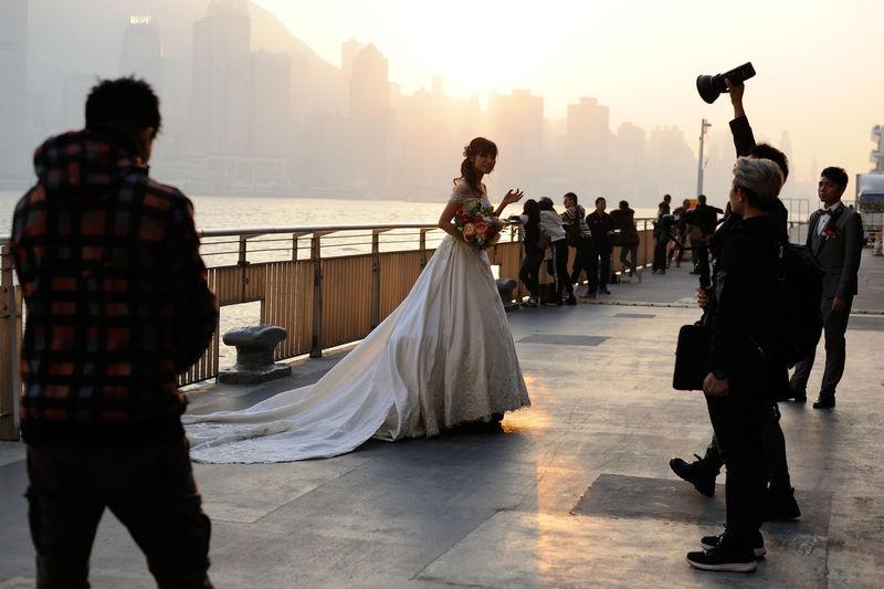 Evening Light Bride And Groom Bridegroom Evening Hong Kong Victoria Harbour Lifestyles Wedding Wedding Day