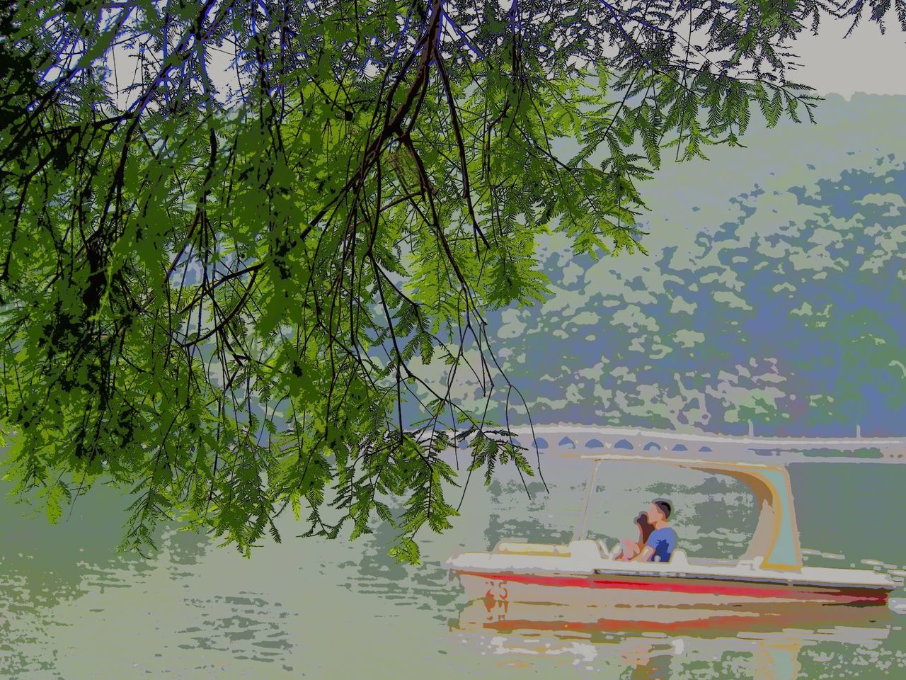 water, tree, real people, leisure activity, nature, lifestyles, nautical vessel, day, waterfront, one person, beauty in nature, outdoors, swimming pool, growth, sitting, tranquility, transportation, men, floating on water, weekend activities, lake, women, vacations, scenics, branch, sailing, young adult, jet boat, sky, people