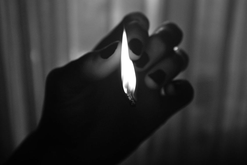 One Person Burning Focus On Foreground Flame Indoors  Real People Hand Fire Human Hand Fire - Natural Phenomenon Close-up Human Body Part Heat - Temperature Holding Unrecognizable Person Lifestyles Nature Finger Human Finger
