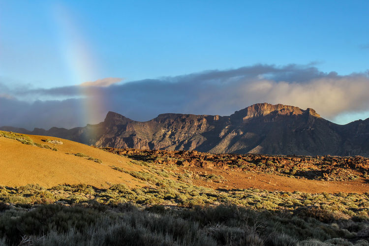 Scenic view of landscape and rainbow against sky