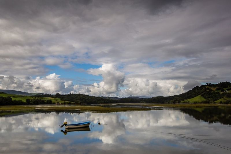A walk in the clouds San Vicente De La Barquera Cantabria Nature Landscape Sky Relaxing Zen Fishing Boat Boat Seascape Sea Reflection Cloudscape Clouds And Sky Clouds Cloud - Sky Sky Water Nature Scenics Tranquil Scene Lake Mountain No People Tranquility Beauty In Nature Waterfront Day Outdoors