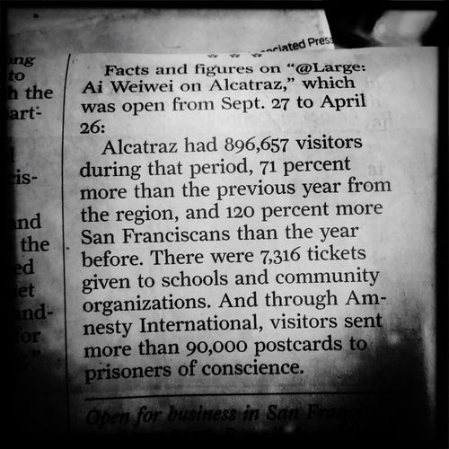 Ai Weiwei Alcatraz Newspaper San Francisco San Francisco Chronicle Ai Wei Wei Alcatraz Art Amnesty International Political Prisoner