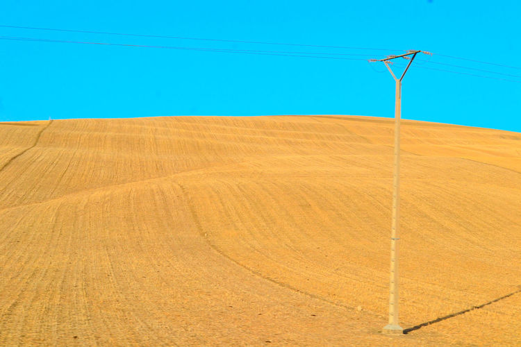 Agriculture Blue Cable Cereal Plant Clear Sky Crop  Day Electricity  Electricity Pylon Farm Field Harvesting Landscape Nature No People Outdoors Rural Scene Scenics Sky Technology