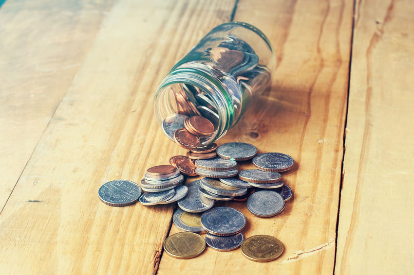 Saving money concept. Saving Money Concept Bank Currency Loan  Finance Salary Save Coin Glass Jar Business Growing Keep  Saving Money Saving Concept Collect Money