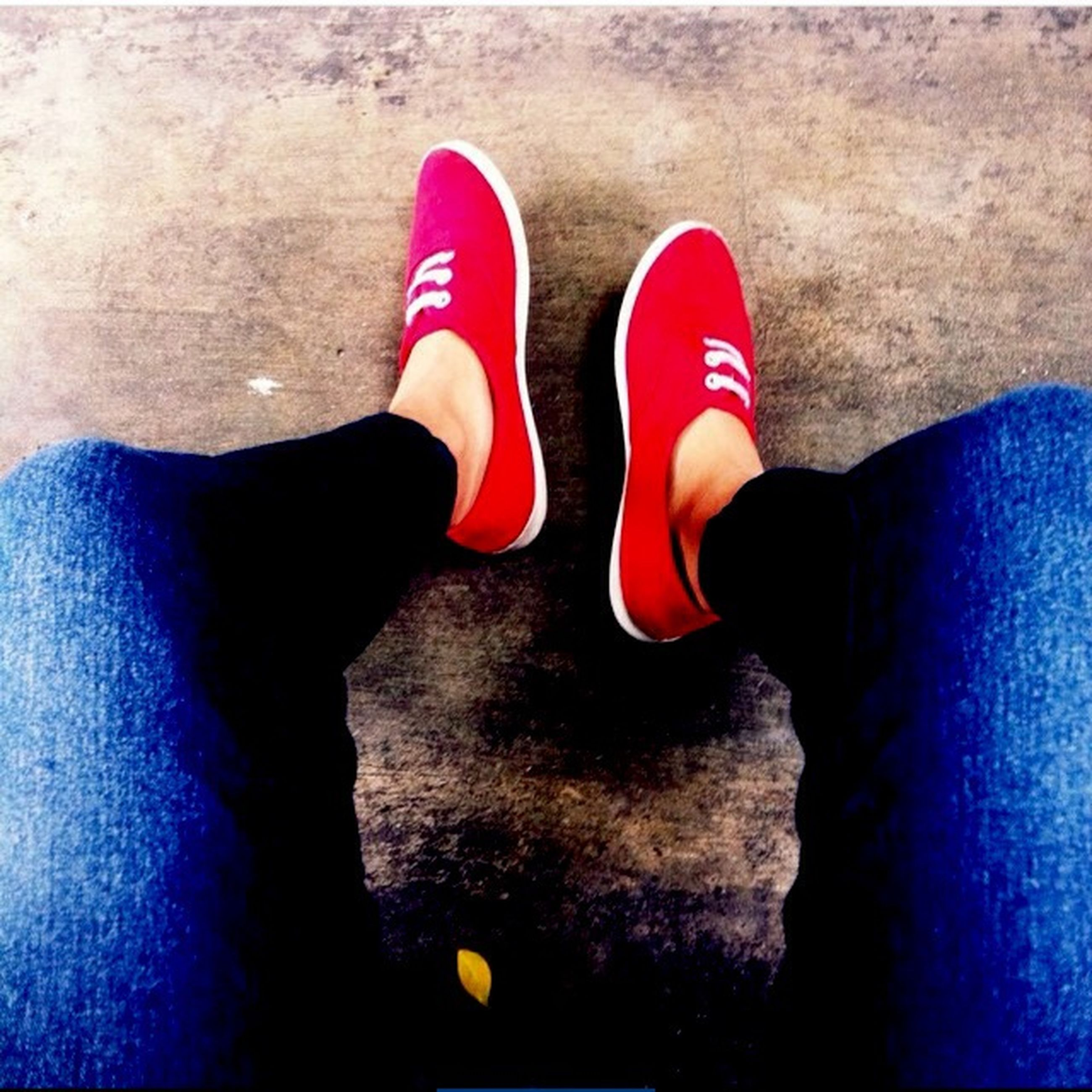 low section, person, shoe, footwear, human foot, personal perspective, standing, jeans, high angle view, lifestyles, canvas shoe, red, indoors, blue, leisure activity, pair, part of