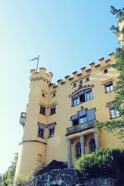 Built Structure Architecture Building Exterior Clear Sky Window Low Angle View Outdoors Day Sky History No People Castle Hohenschwangau Germany King Historical Building Old Buildings Bavaria Tourism