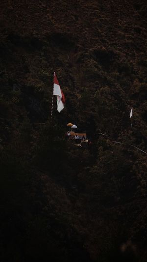High angle view of flag on field