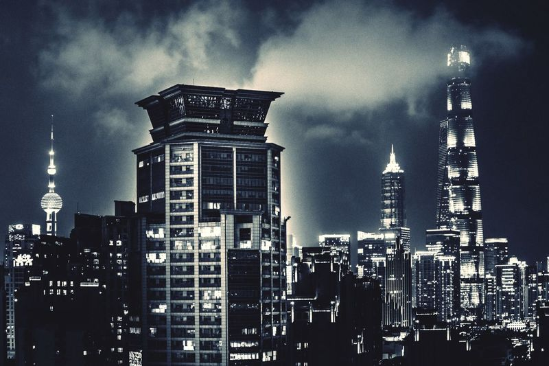 Night City Lights Bnw_captures Bnw_collection Blackandwhite Architecture Building Exterior Built Structure Building Tower Sky Office Building Exterior Tall - High City Low Angle View Cloud - Sky Skyscraper No People Outdoors Travel Destinations Cityscape Spire