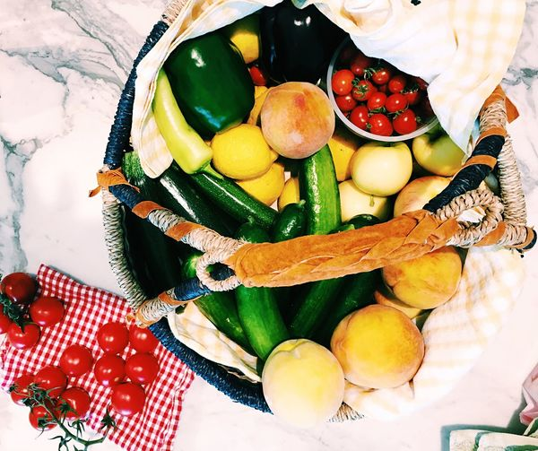 Food And Drink High Angle View Healthy Eating Table Variation Freshness Food Vegetable Close-up Fruit Directly Above