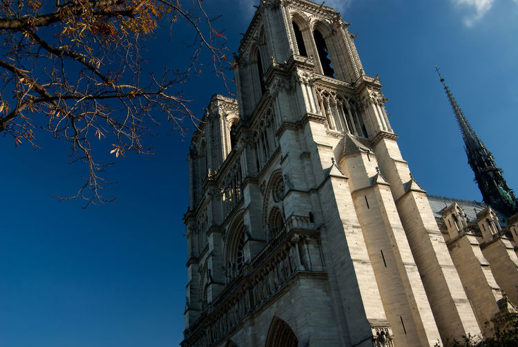 Notre Dame Cathedral Paris, France  World Heritage Architecture Belief Building Building Exterior Built Structure Catholic Church Day Gothic Style Low Angle View Place Of Worship Religion Sky Spire  Spirituality Travel Destinations Wonder