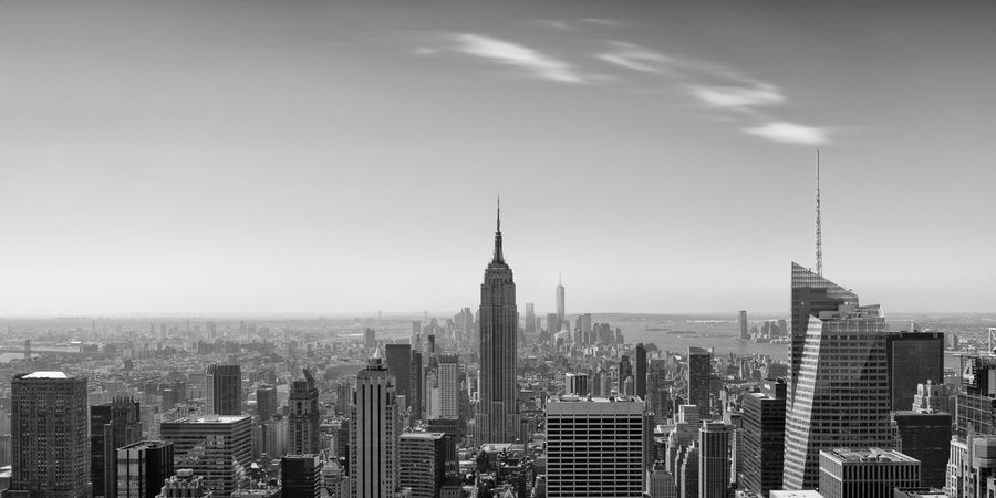 Architecture Black And White Blackandwhite Building Exterior City Cityscape Composition Empire State Building Manhattan Modern New York New York City No People NYC Outdoors Panorama Panoramic Sky Skyscraper Tower Travel Travel Destinations Urban Skyline