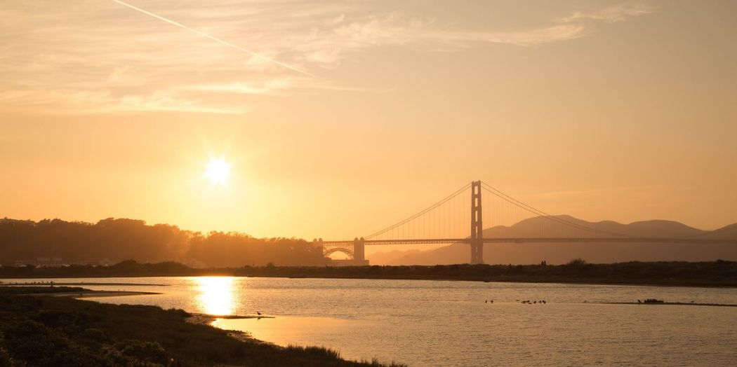The golden gate bridge San-Francisco America Sunset Connection Beauty In Nature Bridge Bridge - Man Made Structure
