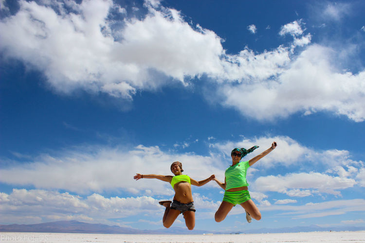 Jump in the sky Argentina Sky Jumping Skyjump Bluesky Cloud - Sky Cloud - Sky Young Women Smiling Togetherness Cheerful Happiness Women Men Flying Full Length Motion Aerobatics Go Higher Inner Power