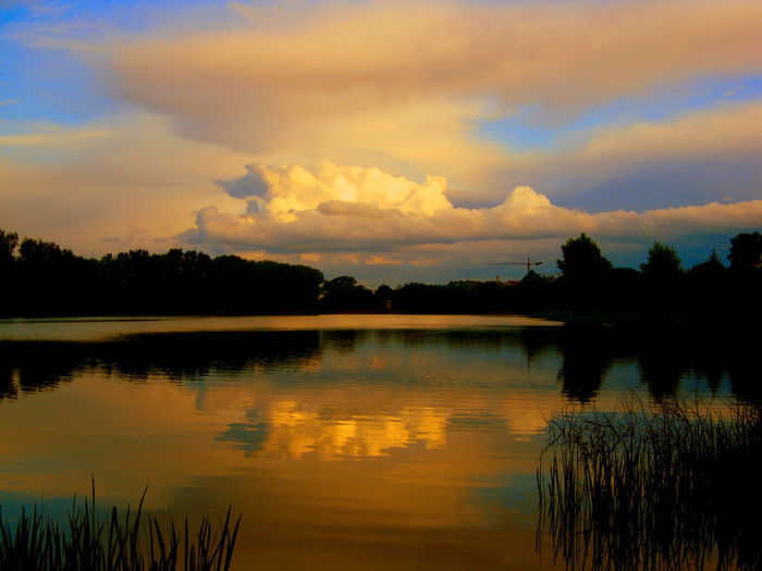 EyeEm Best Shots EyrEmNewHere EyeEm Nature Lover Eye4photography  Eyr Beauty In Nature Cloud - Sky Jezioro Dlugie Lake Orange Color Reflection Scenics - Nature Silhouette Sky Sunset Water