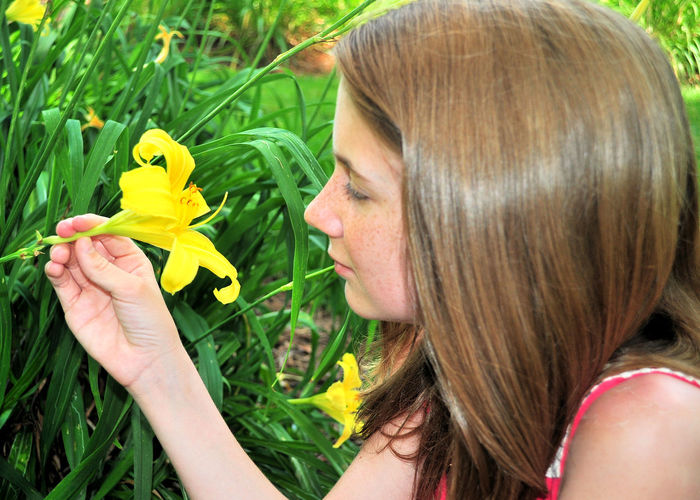 Close-up of teenage girl holding yellow flower