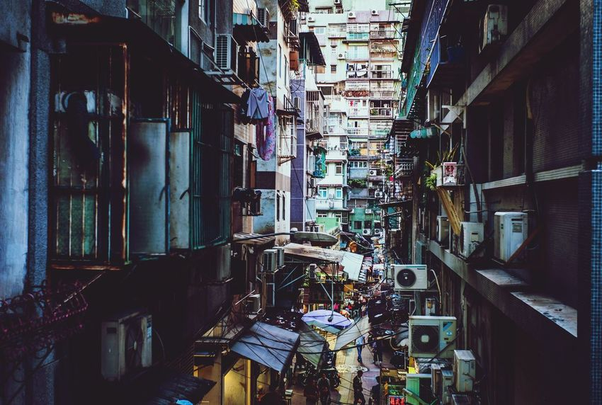 澳門 Macau Street Photography Shadow And Light Building Exterior Architecture Built Structure Building No People City Day Outdoors Large Group Of Objects Residential District Choice Abundance Narrow House Communication Hanging Alley Variation Sunlight