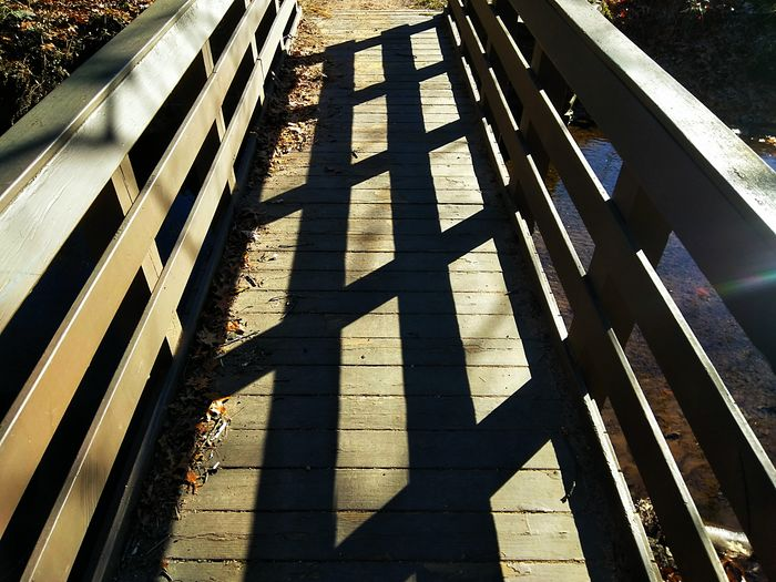 Wooden Bridge Patterns & Textures The Way Forward Road Shadow Yellow Communication Sunlight Safety Protection Road Marking