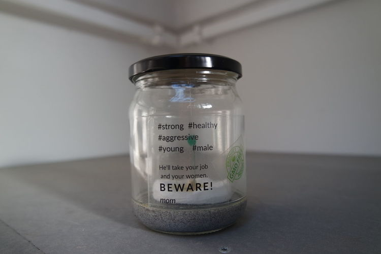 Biennial Art Venice GMO FREE Beware Glass Jar Healthy Job Mom Strong