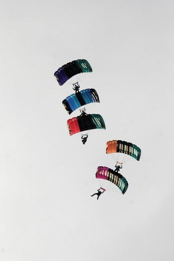 Formation Flying Canopy Formation Clear Sky Day Extreme Sports Leisure Activity Low Angle View Multi Colored Outdoors Parachute Sky White Background