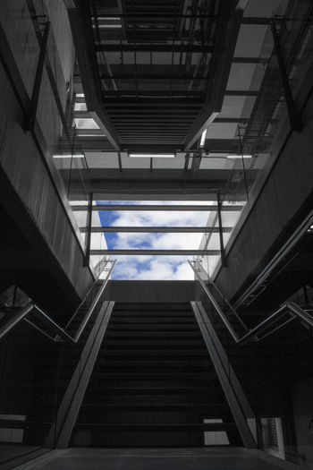 Stairway to Heaven Architecture Bogotá Built Structure Close-up Colombia Colour Of Life Connection Convenience EyeEm Best Edits Eyeem Collection Indoors  Low Angle View Modern No People Railing Stairway Stairway To Heaven Steps The Way Forward