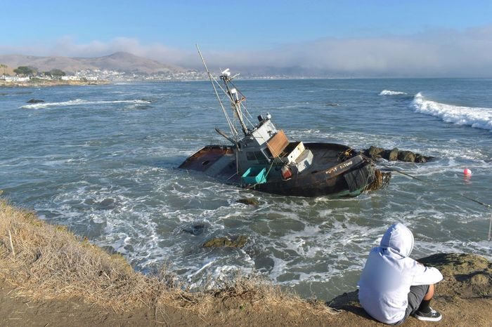 Cayucos Cayucos Beach, CA California Boat Troller Shipwreck Wreck On The Rocks Ocean Water Coast Coastline Sea Beach Outdoors Nature Sky Day Real People One Person Beauty In Nature People Abandoned Scenics No Budget Photography