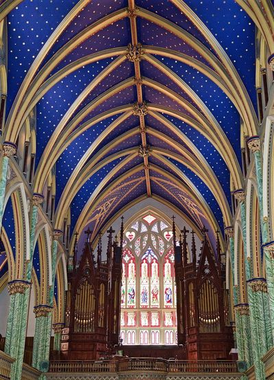Up Close Street Photography Canada Coast To Coast Old Buildings Architecture Church Walking Around Architecture_collection Built Structure My Favorite Photo Blue Church Organ Pipes Stained Glass Stainedglass Stained Glass Window Architectural Detail Architectural Feature Gold