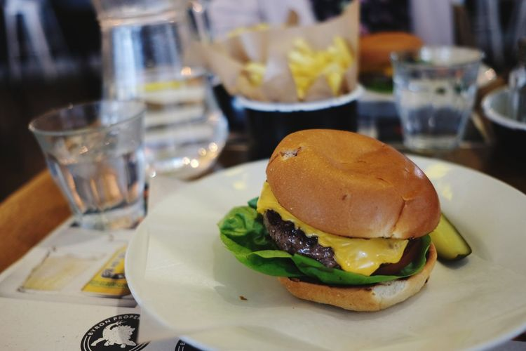 Close-up of burger on table in restaurant