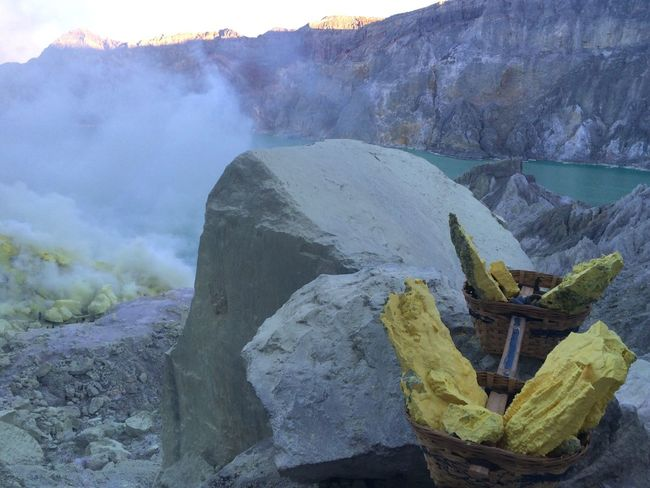 Kawah Ijen Sulfur  Sulfur Miners Sulfur Gas Sulfur Rock Yellow Yellowstone Rock Stone Blue Blue Lake Acid Acid Lake Lake Turquoise Toxic Impressive Java INDONESIA Hidden Gems  Two Is Better Than One
