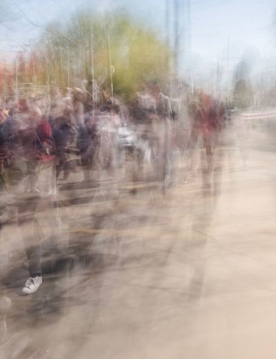 Blurred Motion Day Motion Group Of People Real People Transportation Outdoors Nature Defocused Walking City Window Men Transparent Mode Of Transportation Lifestyles Large Group Of People Crowd Group Digital Composite