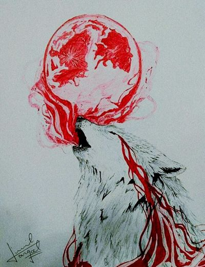 Drawn by my cousin Submit Dangol Night Wolf Red Earth Wolfie Sketches