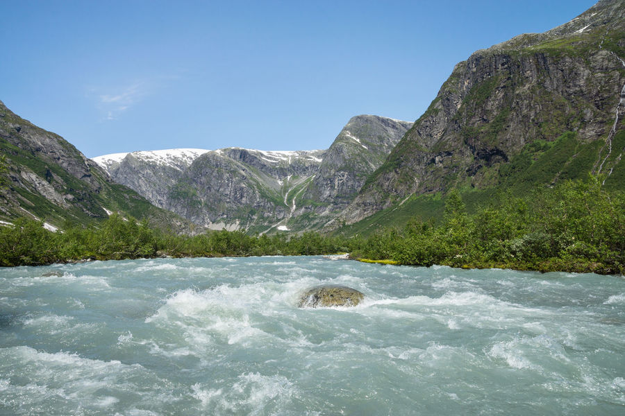 On the way to Austerdalsbreen (glacier) ... Wild stream of melt water Ice Age Beauty In Nature Blue Flowing Flowing Water Glacial River Melt Water Idyllic Landscape Majestic Motion Mountain Mountain Range Nature Outdoors Remote River Rock Rock - Object Scenics Storelvi Turquoise Water Wild Wild Water