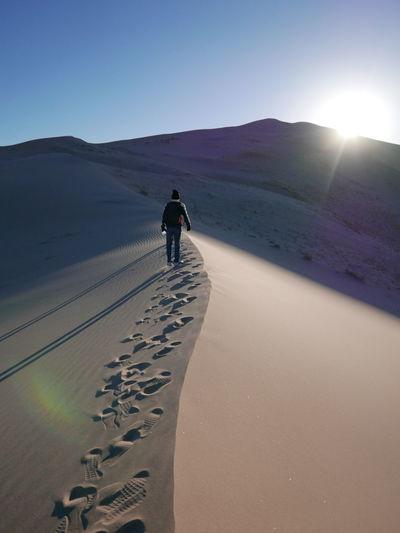 Rear view of man standing on sandy desert against sky