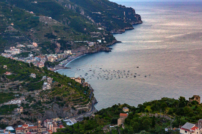 Amalfi Coast Mediterranean Sea Architecture Beauty In Nature Building Exterior Day High Angle View Italy Landscape Nature No People Outdoors Scenics Sea Sky Water