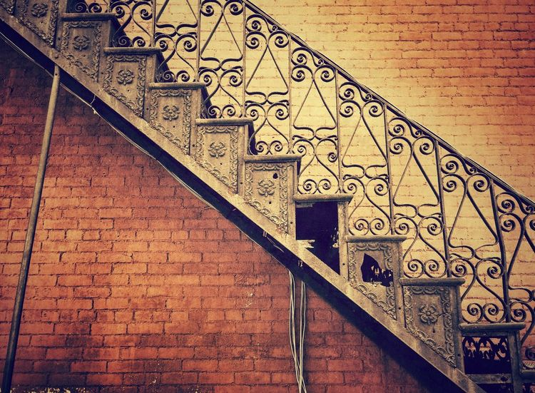 Lines & Shadows. Pattern Pieces Old Buildings Brick Walls Architecture Old Brick Smalltown Windows Walls & Doors. Abandoned Beauty Muted Tones Pastel Power Radiant Stairwell Iron Stairs