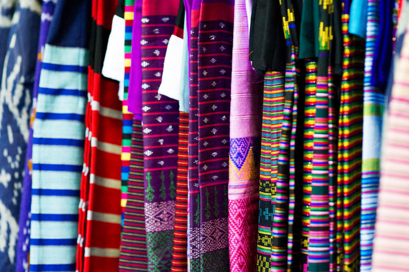 Full frame shot of multi colored textile in market