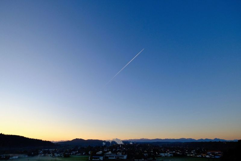 Schongausunrise Beauty In Nature Blue Clear Sky Contrail Myhometown Outdoors Scenics Schongau Vapor Trail