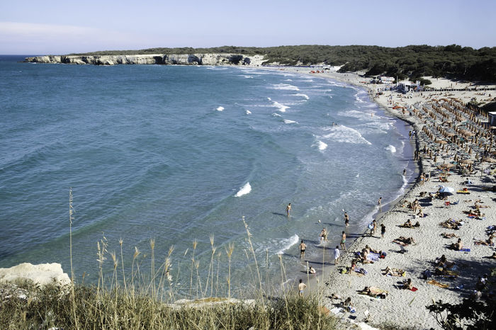 Architecture Beach Beauty In Nature Cliff Day High Angle View Italy Lecce Live For The Story Melendugno Nature No People Outdoors Puglia Salento Scenics Sea Sky Tranquil Scene Tranquility Travel Destinations Water Wave