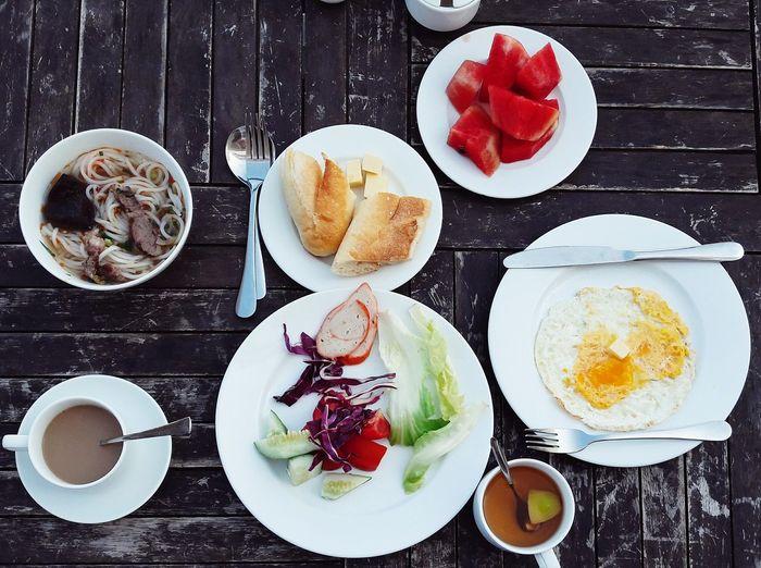 Breakfast on the roof☕ Egg Yolk Bread Vietnam NhaTrang Food And Drink Table