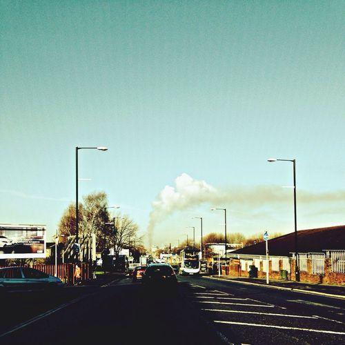Smoke Fire Catching A Bus