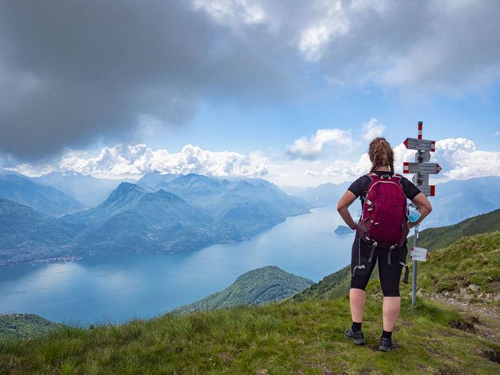 Trekking scene on lake como alps