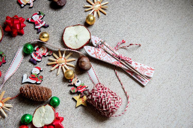 High angle view of christmas decoration on table