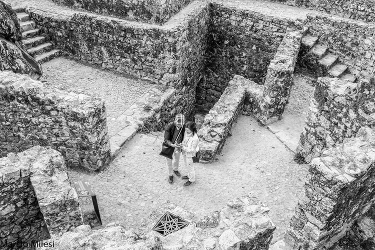 Castle!! #Black&White #blackandwhite #castle  #castle Mouros #couple #love #rocks #ruins Backgrounds Day High Angle View Lifestyles Low Section People Real People Togetherness