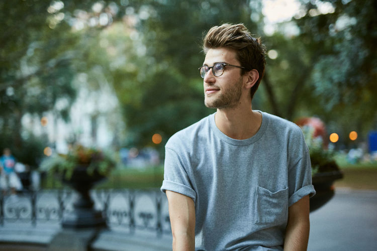 City Glasses Madison Square Park  Man Manhattan New York City Sitting Casual Clothing Dusk Hipster Midtown One Person Outdoors Urban Young Adult Young Man Fresh On Market 2017