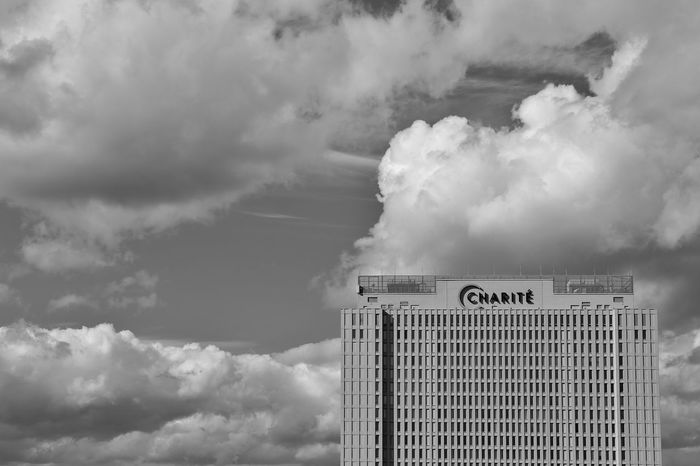Architecture Berlin Charite Charité Campus Virchow-Klinikum (CVK) Cloud - Sky Communication Day Himmel Hospital Krankenhaus Mitte No People Outdoors Sky Text Wolken