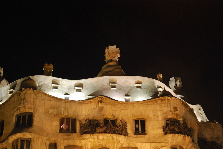 Architecture Barcelona Barcelona, Spain Building Exterior Built Structure Casa Mila ( La Pedrera ) Casa Milà Gaudì Catalonia Catalunya Gaudi Light Lights Low Angle View Night Night Lights Night Photography Nightphotography No People Outdoors Sky SPAIN Travel Destinations