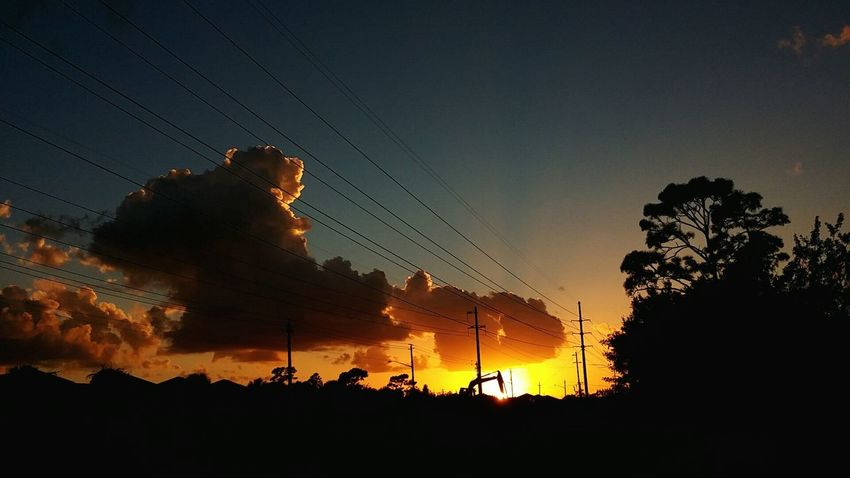 Sunset Silhouette Sky Horizontal Outdoors Cloud - Sky Nature Night No People Light And Shadow Art From Nature Tranquility Tranquil Scene The Calm After The Storm Floridaskies Feast For The Eyes Orange Color Florida Sunset Silhouette Calm Tree