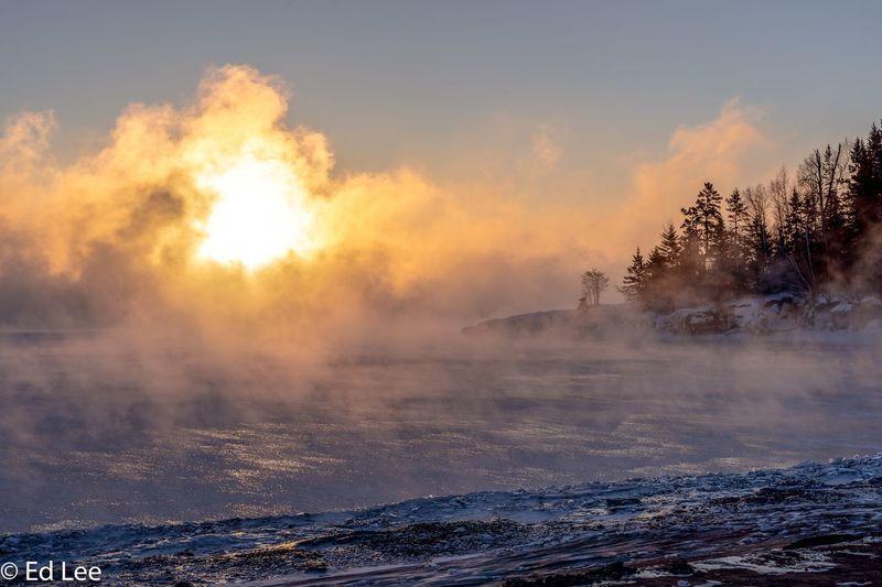 Sunrise Sea Smoke at -31F Sunrise Seasmoke Lake Superior Minnesota Two Harbors Streamzoofamily Malephotographerofthemonth Beauty In Nature No People Nature Sky Sunset Cloud - Sky Water Scenics - Nature Outdoors Winter