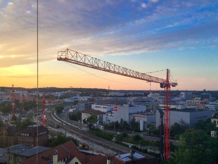 Cloud Construction Site Crane Large Sky Stuttgart 21 Sunset